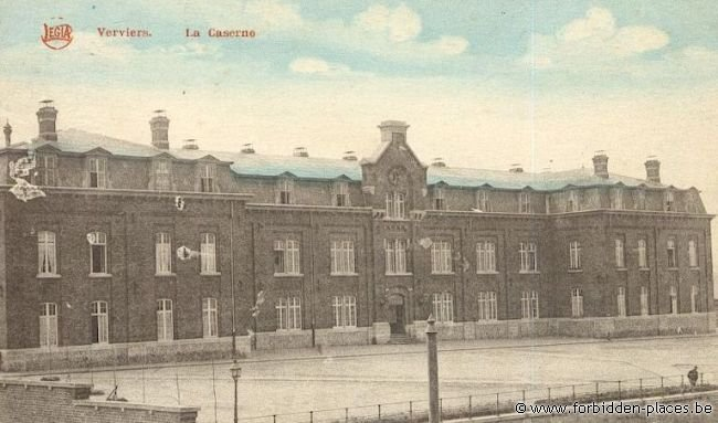 Verviers barracks - (c) Forbidden Places - Sylvain Margaine - Old postcard showing the barracks \#1