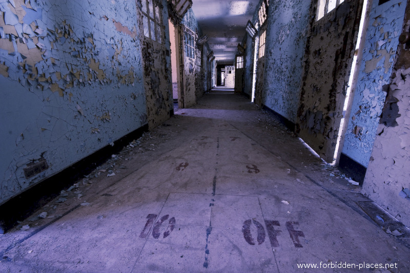 New Jersey State Hospital for the Insane - (c) Forbidden Places - Sylvain Margaine - 1- Welcome. In the seclusion room hall, the 'free' patients could play quoits...