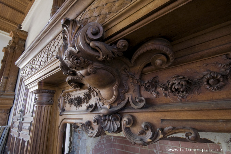 The Castle of Ilbarritz - (c) Forbidden Places - Sylvain Margaine - 18 - Detail of the woodworks of a fireplace.