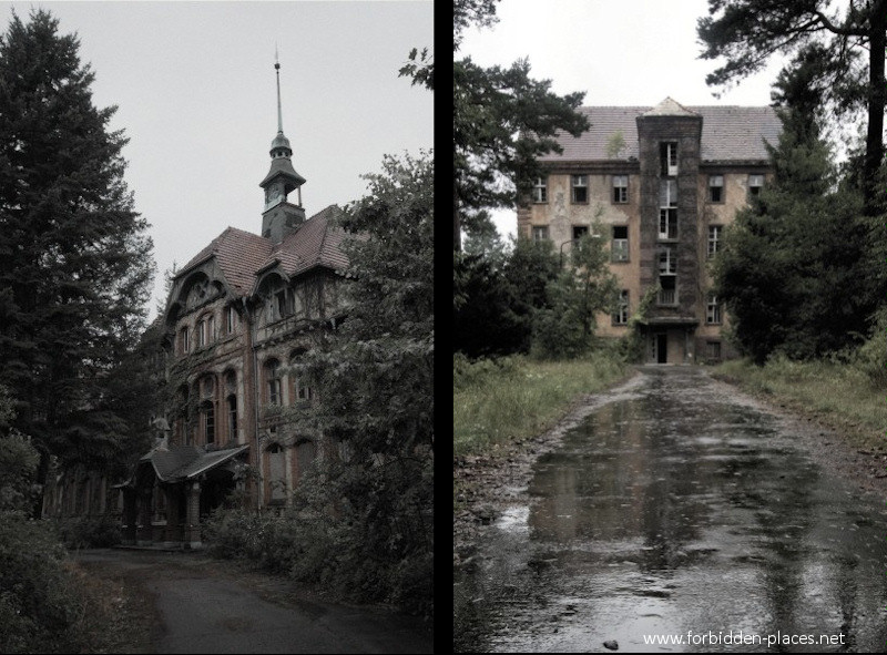 Beelitz-Heilstätten Sanatorium - (c) Forbidden Places - Sylvain Margaine - 3- On the left side, the cental part of the women sanatorium. On the right, the scary chirurgical buidling.