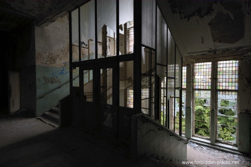 Beelitz-Heilstätten Sanatorium - (c) Forbidden Places - Sylvain Margaine - 4- The stained glasses and the abandoned elevator.