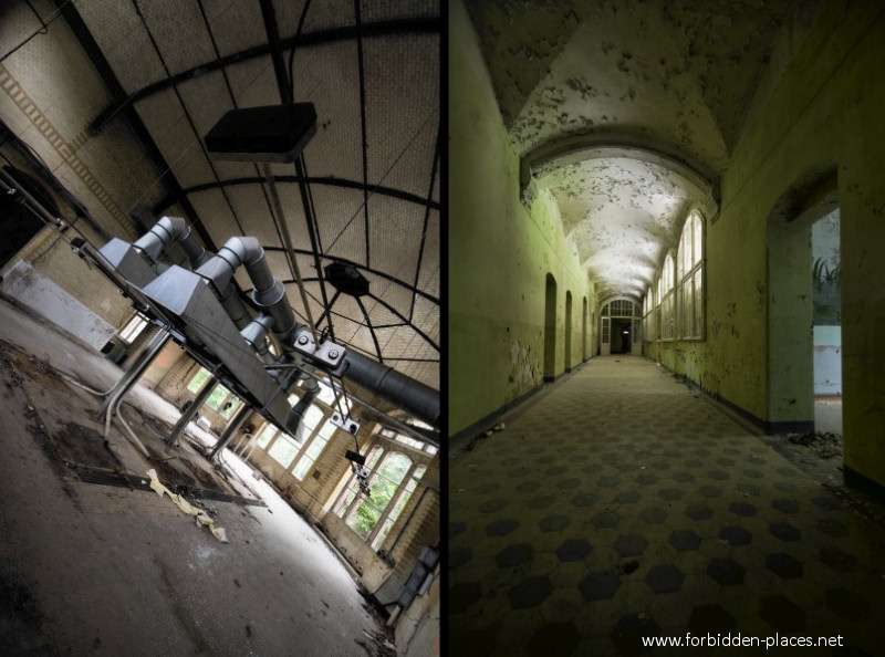 Beelitz-Heilstätten Sanatorium - (c) Forbidden Places - Sylvain Margaine - 14 - Kitchens and corridor leading to them.